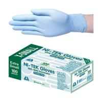 """Nil-tek"" 藍色丁睛手套 (無粉 – 100隻/盒) (GLVNTRPF100XS)"